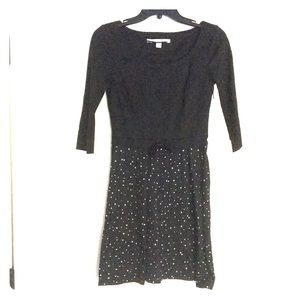 3/4 sleeve two tone dress